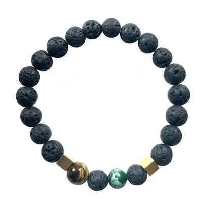 Mi Cielo London Bracelet Lava stone bracelet, Green Regalite, Black Onyx and Tiger eye