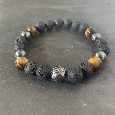 Lava stone bracelet, tiger eye and lava stone plated
