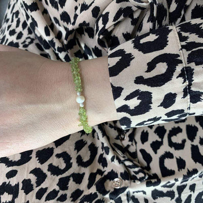 Mi Cielo London Bracelet 16 cm with 5 cm extension Sterling silver bracelet Peridot and Pearl