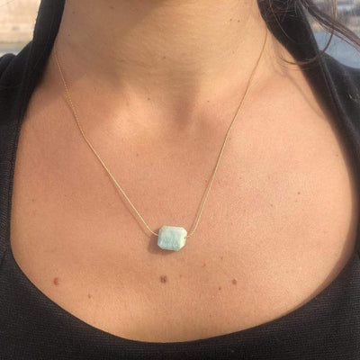 Mi Cielo London Necklace Natural shape raw Gold necklace Amazonite