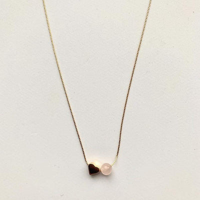 Mi Cielo London Necklace 42 cm Love mini heart necklace rose quartz