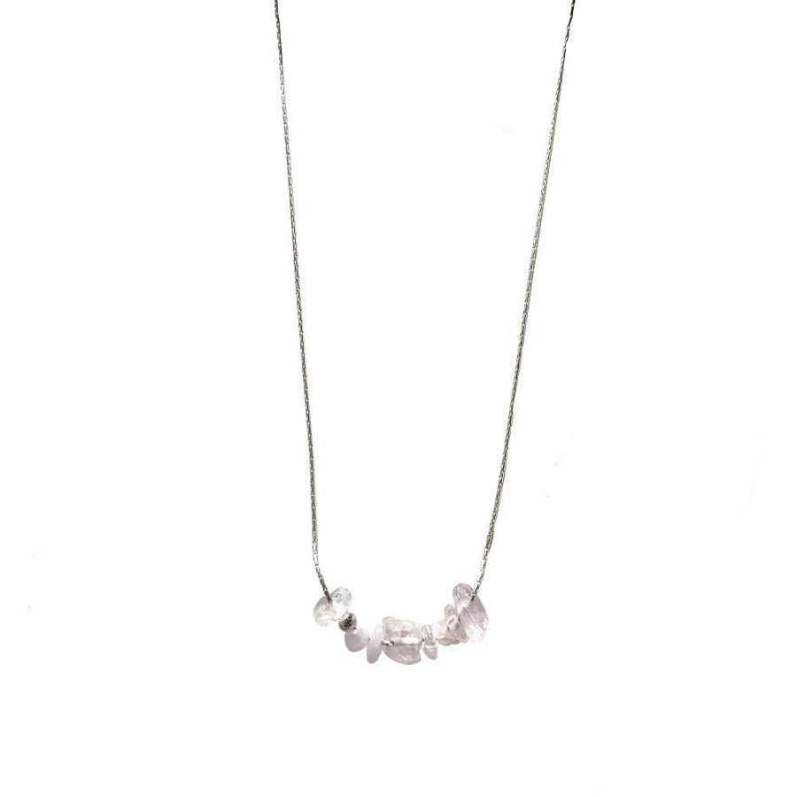 rose quartz necklace on sterling silver