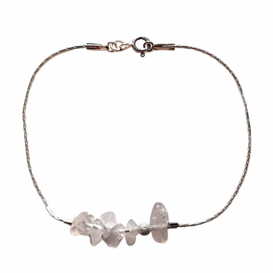 Sterling silver set necklace & bracelet rose quartz