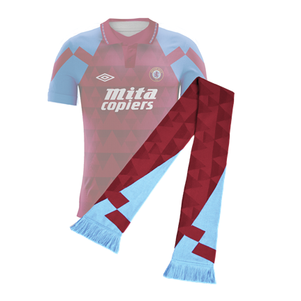 Aston Villa Retro Football Scarf, Home Shirt 1990-1992