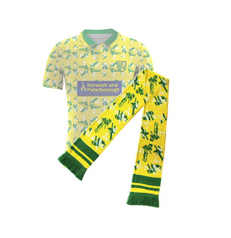 Norwich Retro Football Scarf, Egg and Cress Shirt