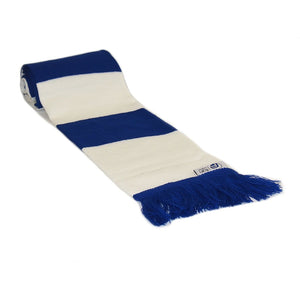 Blue and White Retro Football Bar Striped Scarf - Fans' Favourite