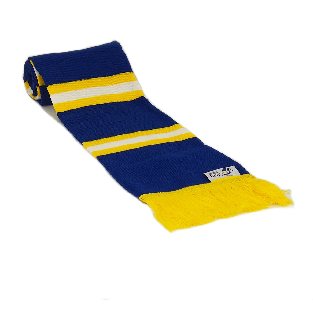 Leeds Scarf Retro Football Bar Striped Scarf -  Blue, Yellow and White - Fans' Favourite