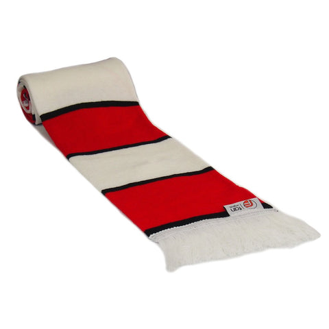 Red, White and Black Scarf - Retro Football Bar Striped Scarf