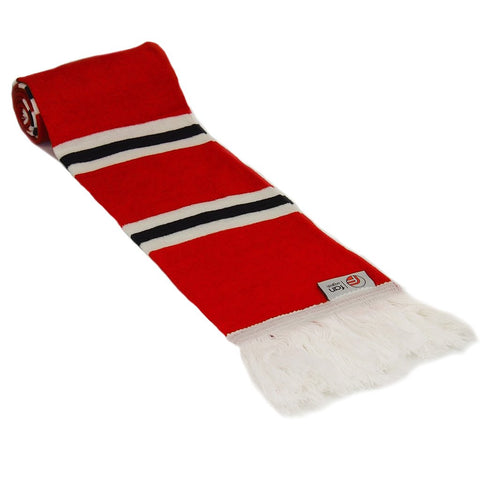 Red, Black and White Scarf - Retro Football Bar Striped Scarf