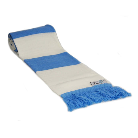 Sky Blue and White Scarf - Retro Football Bar Striped Scarf