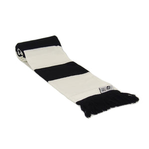 Black and White Retro Bar Striped Football Scarf - Fans' Favourite