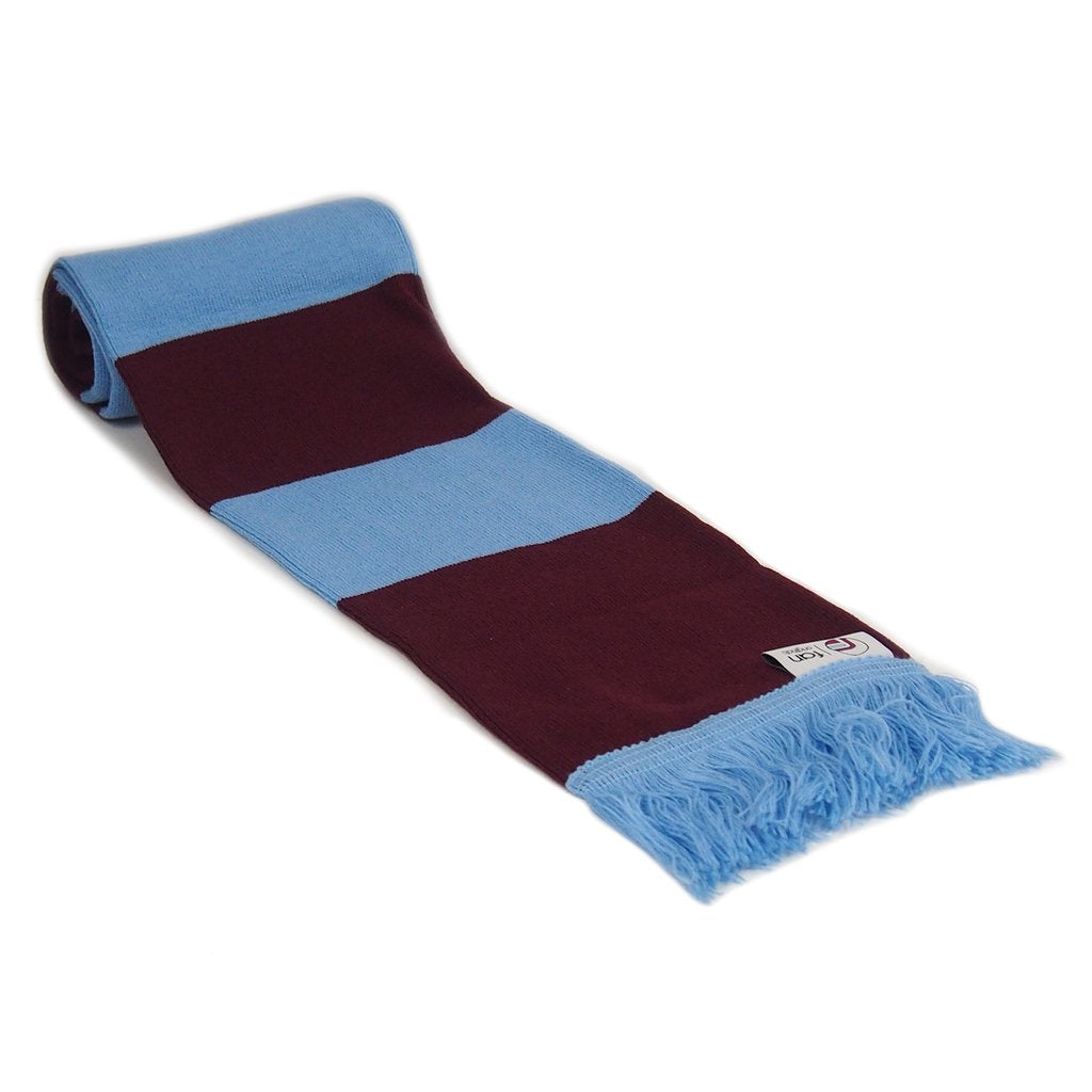 Claret and Blue Retro Football Bar Striped Scarf - Fans' Favourite Retro