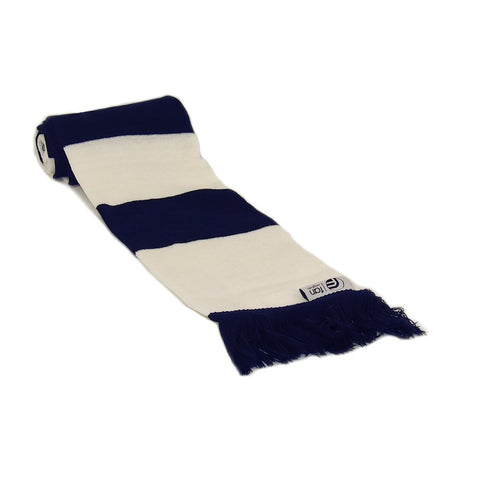 Navy Blue and White Retro Football Bar Striped Scarf
