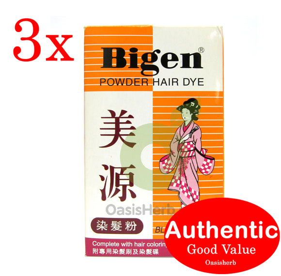 Bigen Powder Hair Dye - Black Color A 6g Japan - 3 packs