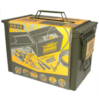 green steel military ammo can containing air armor 12 volt air compressor