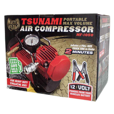 Retail color box of the red Tsunami 12 volt air compressor with battery clips