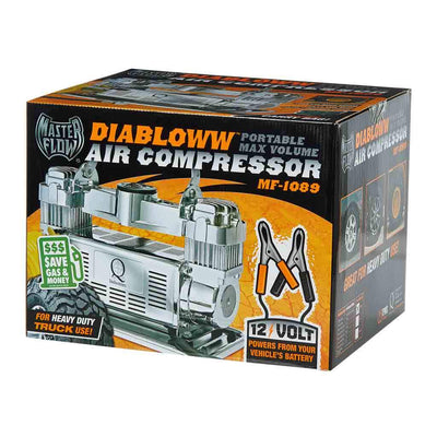 masterflow mf-1050 front retail package 12 volt silver air compressor