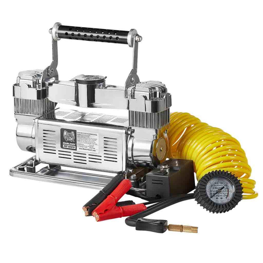 Heavy Duty 12 Volt Air Compressor Mf1050 Tire Light Wiring Diagram Mf 1089 318 Cuf Volts 24 Foot Yellow Coil Hose Inflator