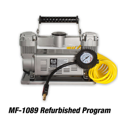 twin cylinder mf-1089 12 volt air compressor with yellow hose