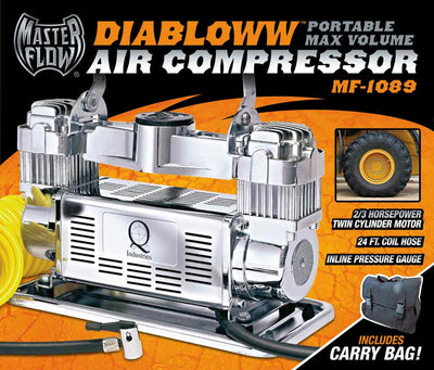 mf-1089 retail color box top, silver twin cylinder air compressor