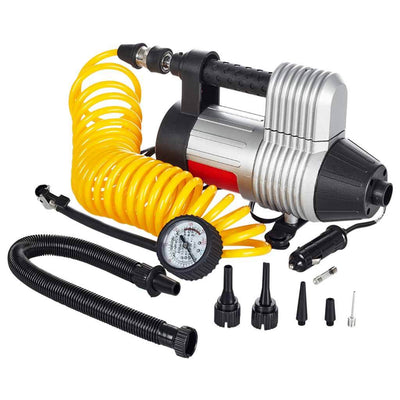 MasterFlow MF-1089 Diabloww air compressor showing gauge, yellow coil hose and accessories