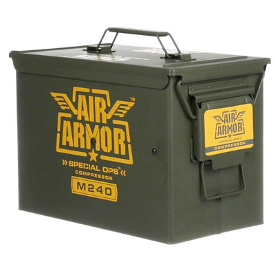 Portable, compact, durable and reliable tire care and repair system packed in a powder coated military grade ammo can.