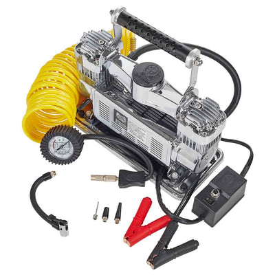 silver mf-1089 portable air compressor 24 foot coil hose and power cord