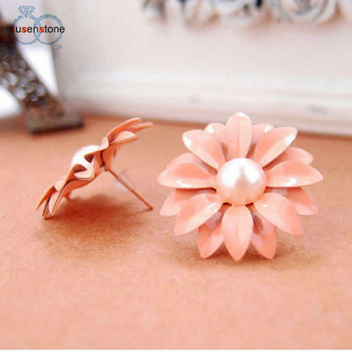 Bangor Daisy Flower Pearl Earrings