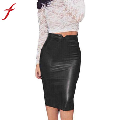 Bangor High Waist Faux Leather Skirt