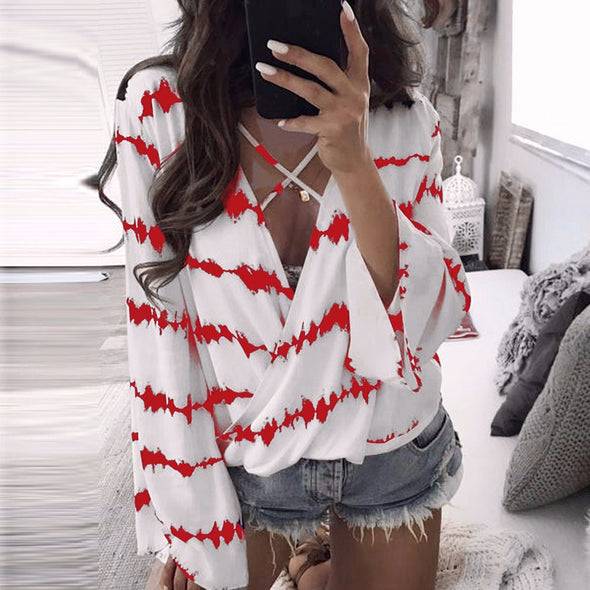 Bangor Criss Cross Long Sleeve Blouse