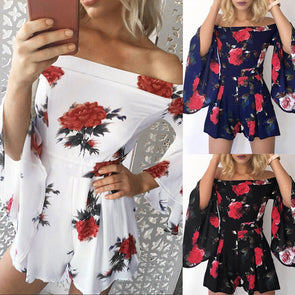 Bangor Sexy Off-The-Shoulder Floral Romper