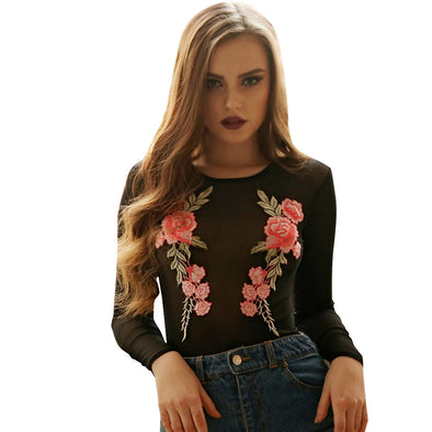 Bangor Embroidered Floral Sheer Mesh Bodysuit