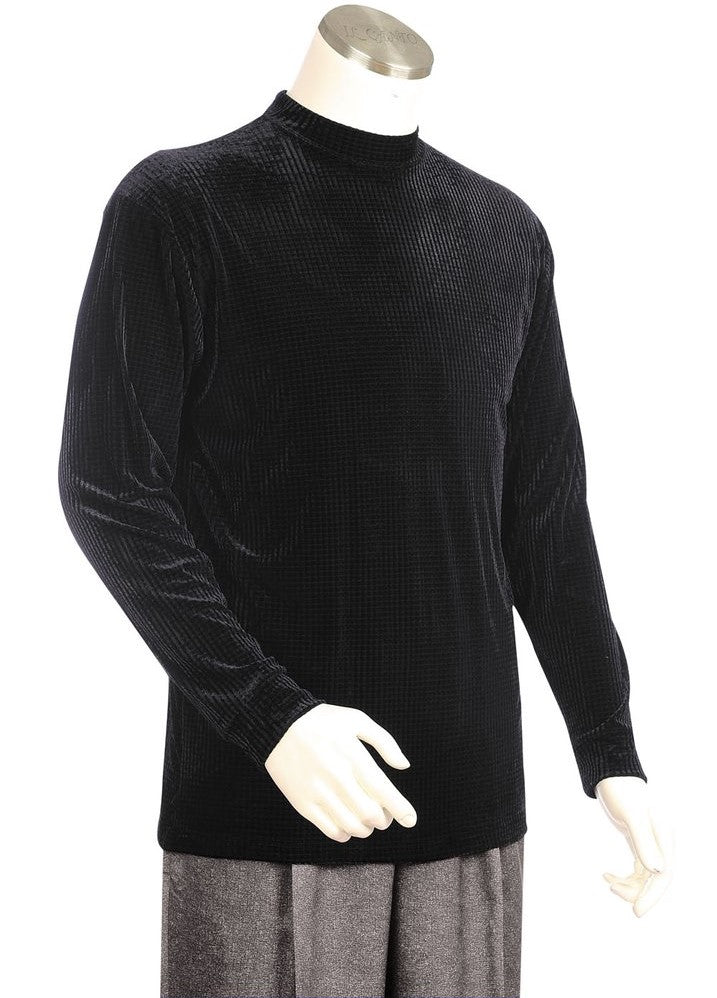 Velvet Grid Long Sleeve Shirt - Black