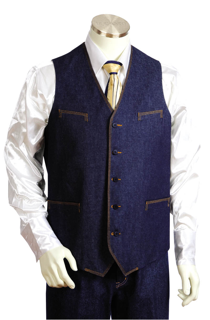 Contemporary Collarless Denim 2pc Zoot Suit Vest Set