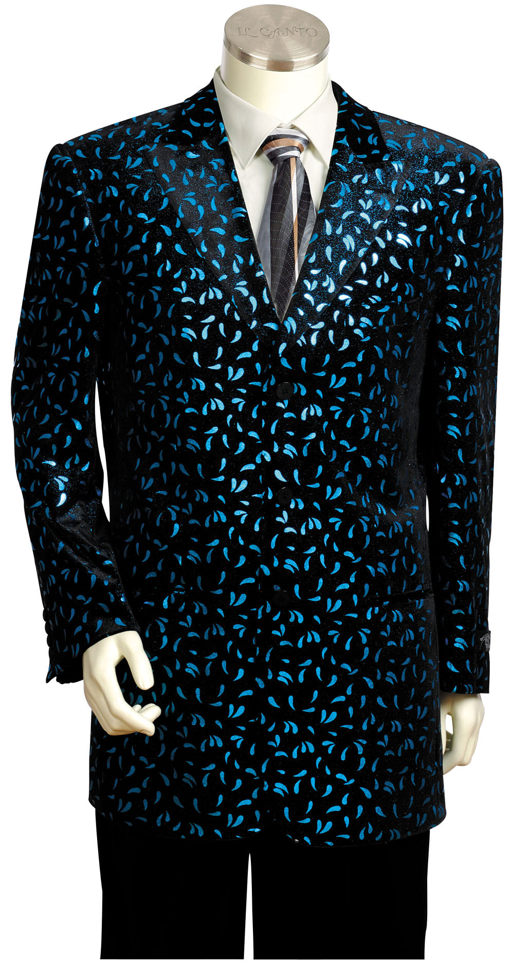 Disco Teardrops Velvet Entertainment 2pc Zoot Suit Set - Turquoise