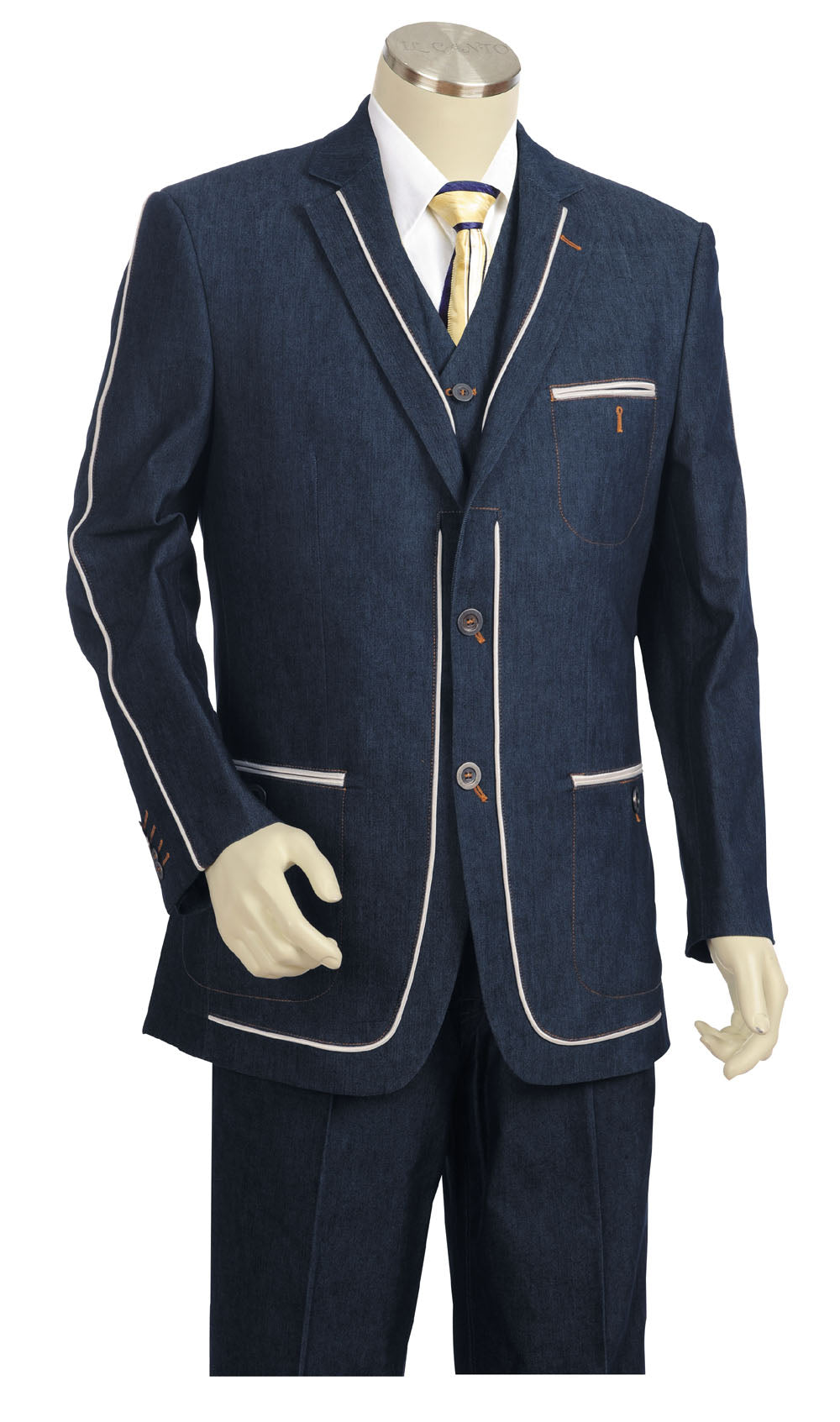 Stylish Contours Denim 3pc Zoot Suit Set - Navy
