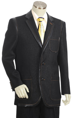 Faux Leather Contours Denim 2pc Zoot Suit Set