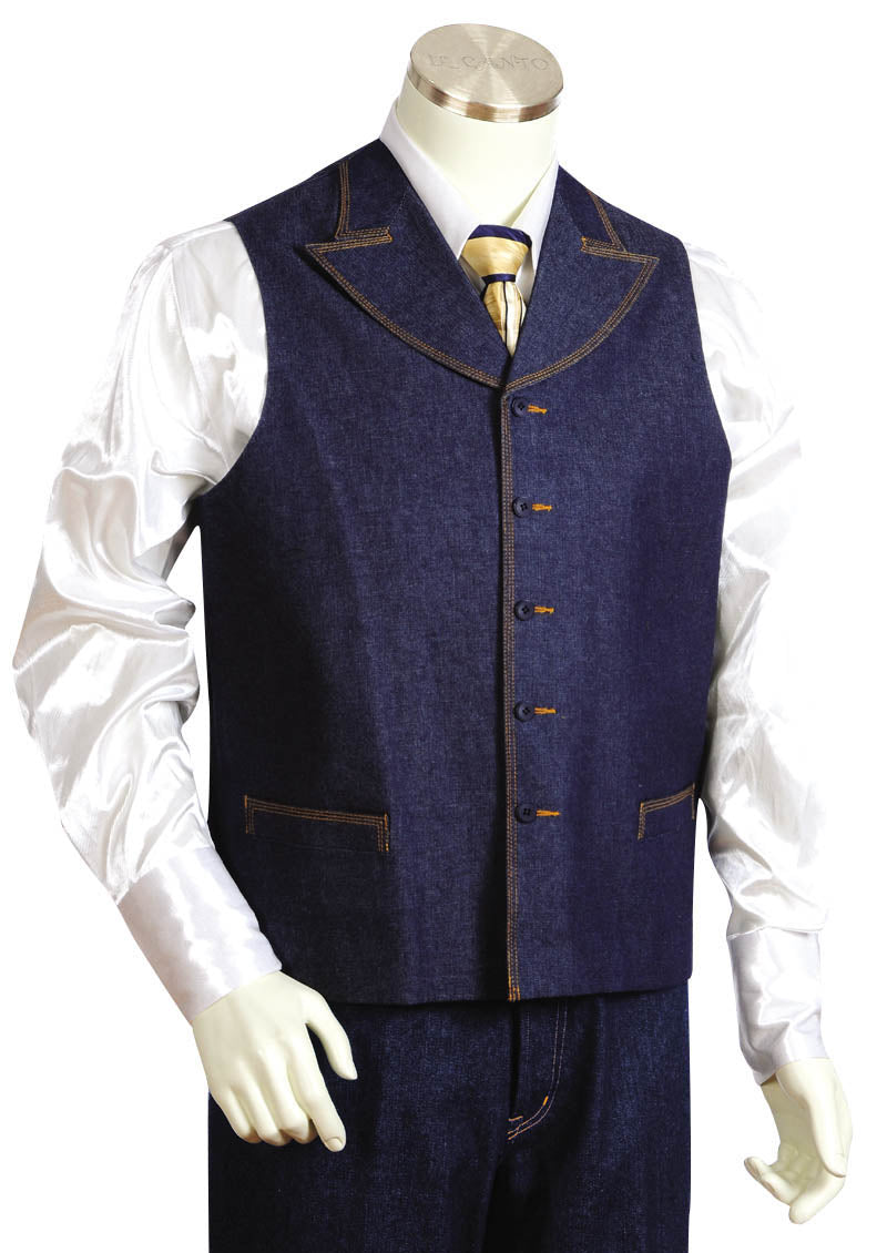 Contemporary Dual Pocket Denim 2pc Zoot Suit Vest Set