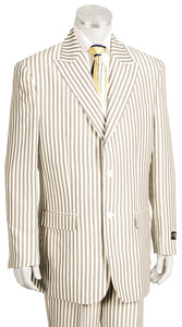 Victorian Stripes Peaked Lapel 2pc Zoot Suit Set - Camel