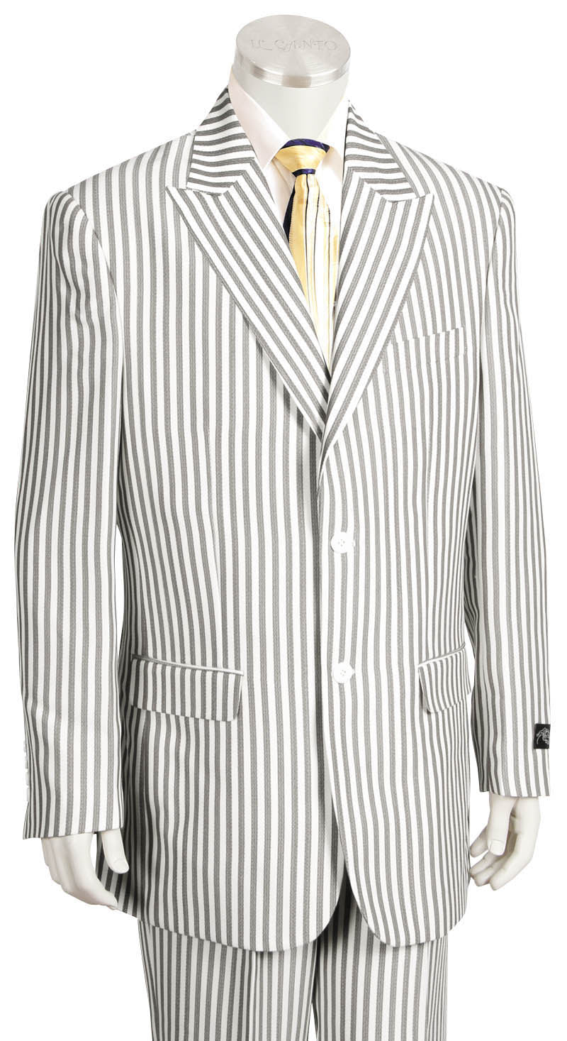 Victorian Stripes Peaked Lapel 2pc Zoot Suit Set - Charcoal