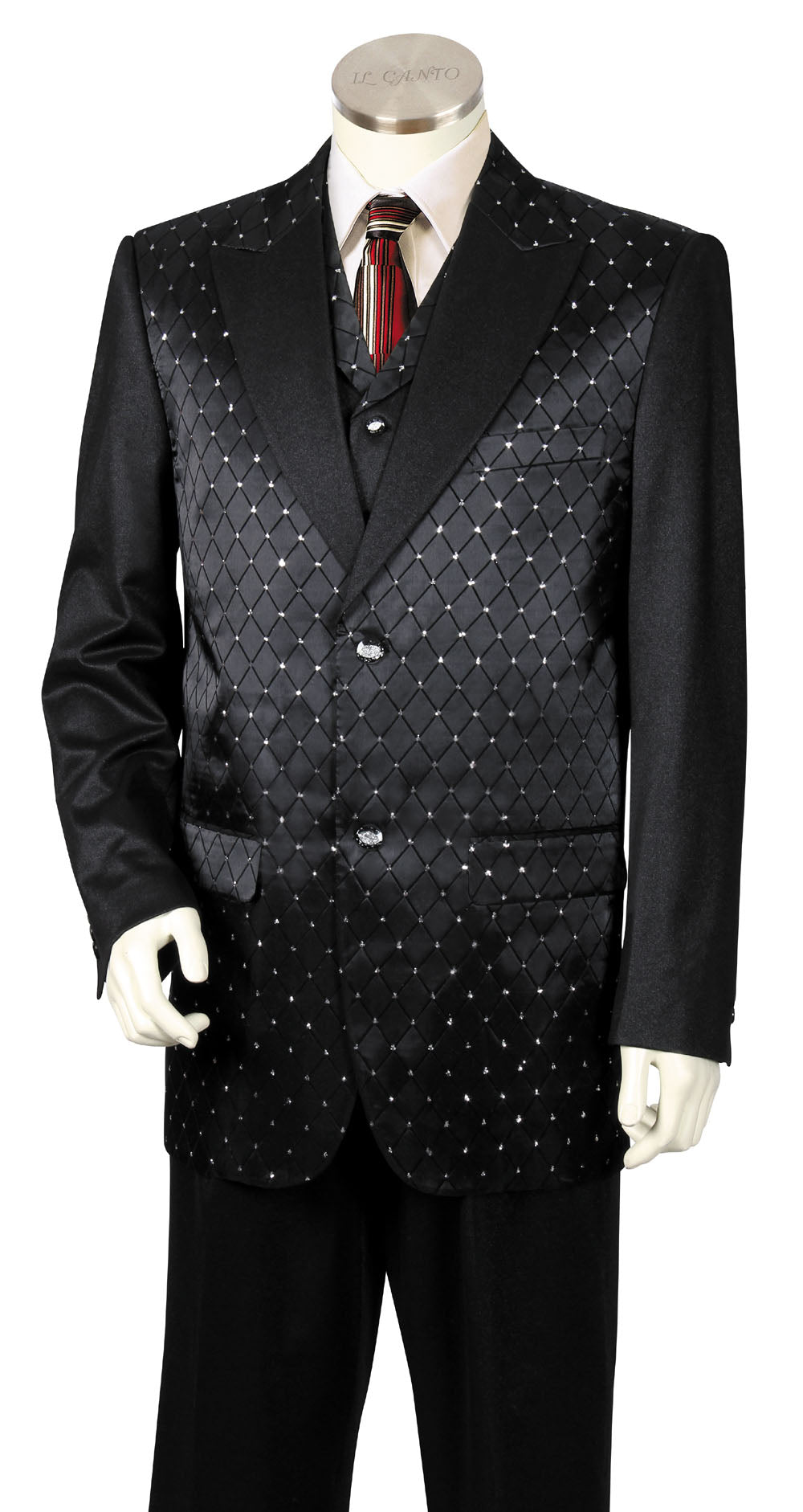 Diamond Patterned 3pc Zoot Suit Set - Black