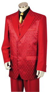 Diamond Patterned 3pc Zoot Suit Set - Red