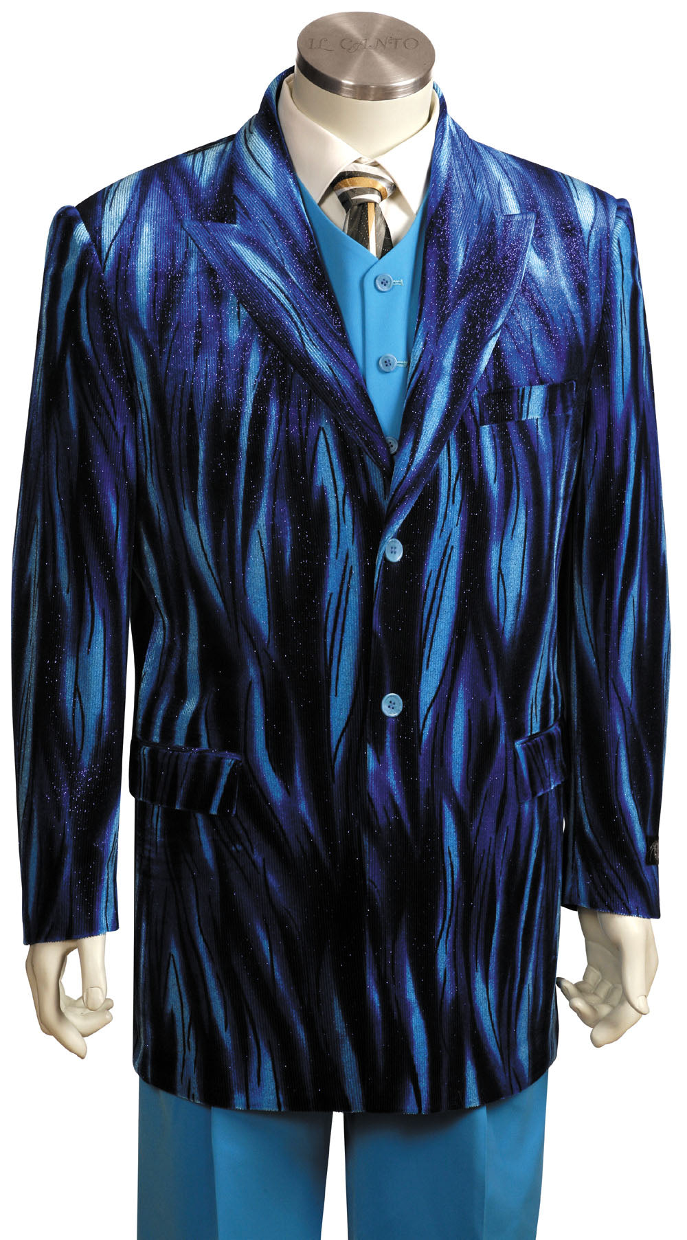 Abstract Flames  3pc  Zoot Suit Set - Royal
