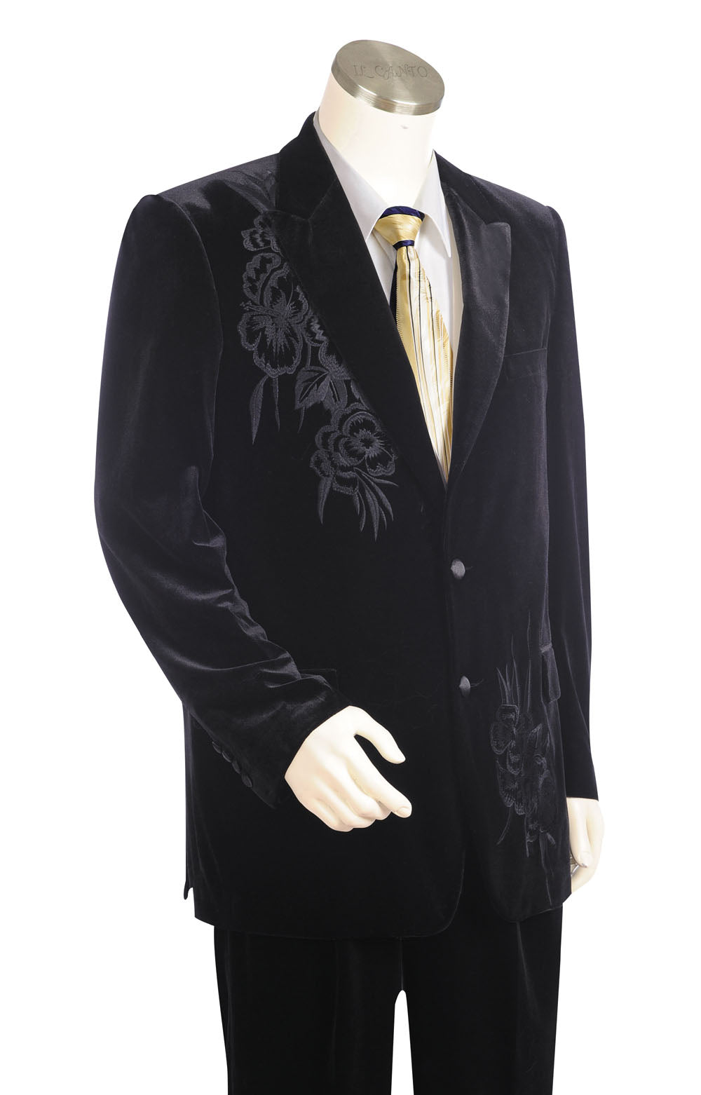 Floral Embroidered Velvet  2pc  Zoot Suit Set