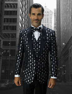 Bellagio Polka Dots  3pc Italian  Suit Set - Black