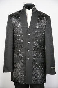 Mandarin Collar Diamond Patterned 2pc Zoot Suit Set
