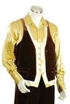 Designer Gold Lined Velvet 2pc Zoot Suit Vest Set