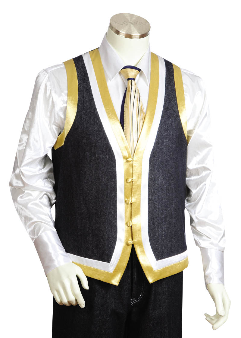 Designer Gold Lined Denim 2pc Zoot Suit Vest Set