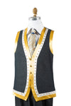 Designer Gold Lined Brass Accent Denim 2pc Zoot Suit Vest Set