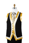 Designer Gold Lined Rhinestone Accent Velvet 2pc Zoot Suit Vest Set